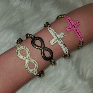 Stretchy Beaded Cute Cross or Infinity Symbol